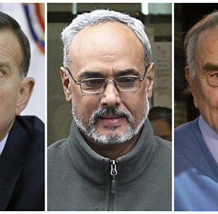 This combination of photos shows Juan Angel Napout, left, Manuel Burga, center, and Jose Maria Marin. The former soccer South American officials go on trial in New York on Monday, Nov. 13, 2017, on charges alleging they took bribes and kickbacks in exchange for marketing rights for major soccer tournaments.