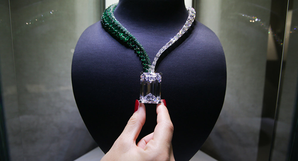 A necklace known as Creation I featuring a 163.41 carat D Colour Flawless diamond and created by Swiss jewellers de GRISOGONO
