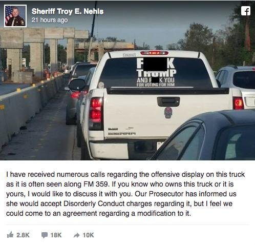 Screenshot of Fort Bend County Sheriff Troy Nehls Facebook post  on anti-Trump decal