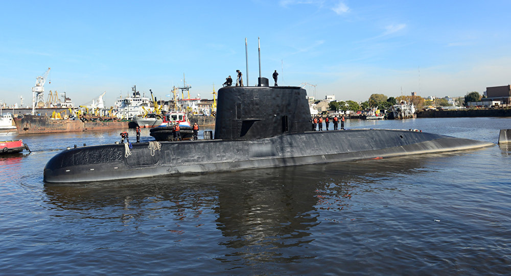 The Argentine military submarine ARA San Juan and crew are seen leaving the port of Buenos Aires, Argentina June 2, 2014