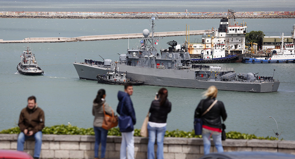 Comandante Espora Argentine ship sails off the navel base in Mar del Plata, Argentina, Saturday, Nov. 18, 2017. This ship is is part of a searching crew to find a submarine that hadn't been heard from in three days.