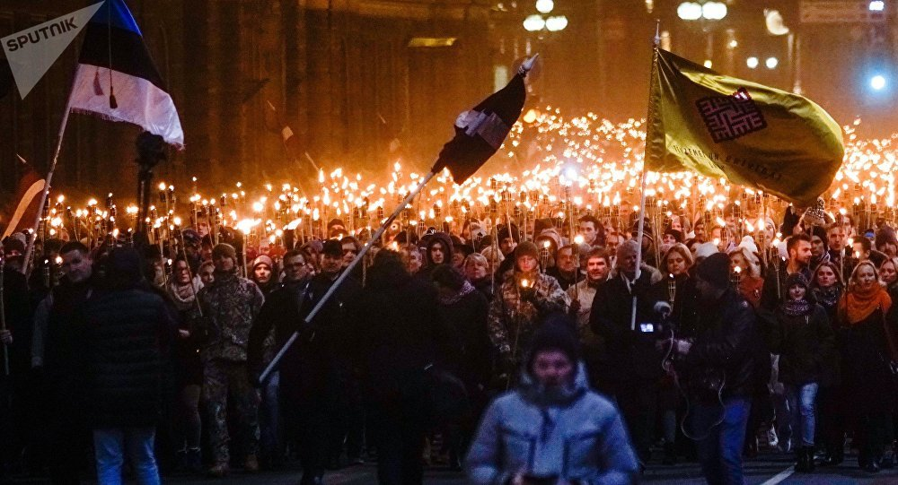 Torchlight procession in Riga on Independence Day