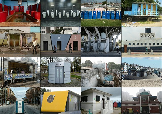 This combination of pictures made on November 17, 2017 presents an AFP worlwide photo theme on public toilets ahead of the United Nations World Toilet Day on November 19, 2017 as some 4.5 billion people live without a household toilet that safely disposes of their waste according to the UN
