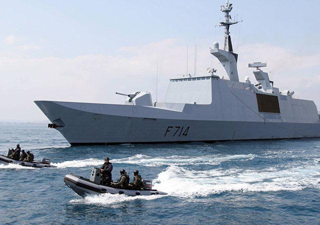 French La Fayette-class frigate La Guepratte is seen on a surveillance mission off Nice, 14 April 2005