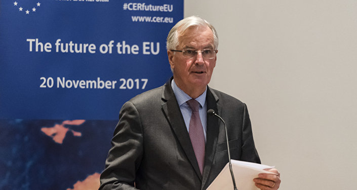 European Union chief Brexit negotiator Michel Barnier gives the keynote address on Brexit during a conference to mark the launch of the Centre for European Reform's new office in Brussels