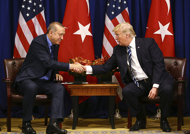 Turkey's President Recep Tayyip Erdogan, left, and US President Donald Trump shake hands prior to their meeting in New York, Thursday, Sept. 21, 2017. Erdogan is in New York for the United Nations General Assembly.