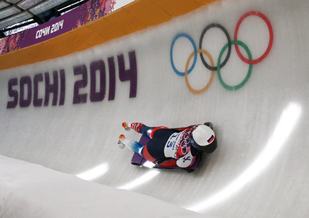 Olga Potylitsyna (Russia) during of the first run in the women's skeleton at the XXII Olympic Winter Games in Soch