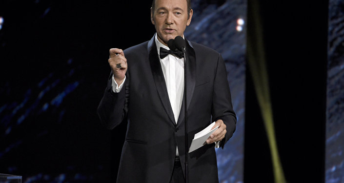 Kevin Spacey presents the award for excellence in television at the BAFTA Los Angeles Britannia Awards at the Beverly Hilton Hotel in Beverly Hills Calif