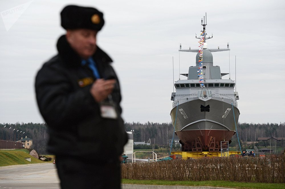 Taifun, a Karakurt-class missile corvette, at the Pella shipyard