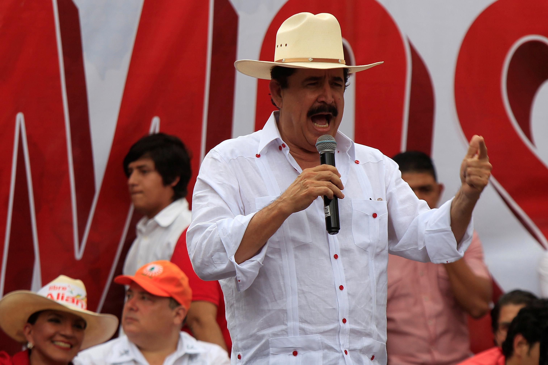 Honduras' ousted president Manuel Zelaya delivers a speech during a march against the re-election of Honduran President Juan Orlando Hernandez in Tegucigalpa, Honduras, November 7, 2017