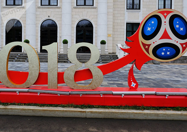 A 2018 FIFA World Cup installation outside the Russia 2018 Organizing Committee at Luzhnetskaya Embankment in Moscow.