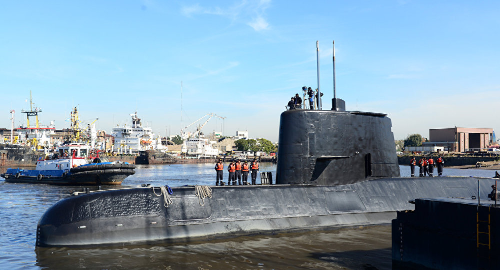 The Argentine military submarine ARA San Juan and crew are seen leaving the port of Buenos Aires, Argentina. (File)