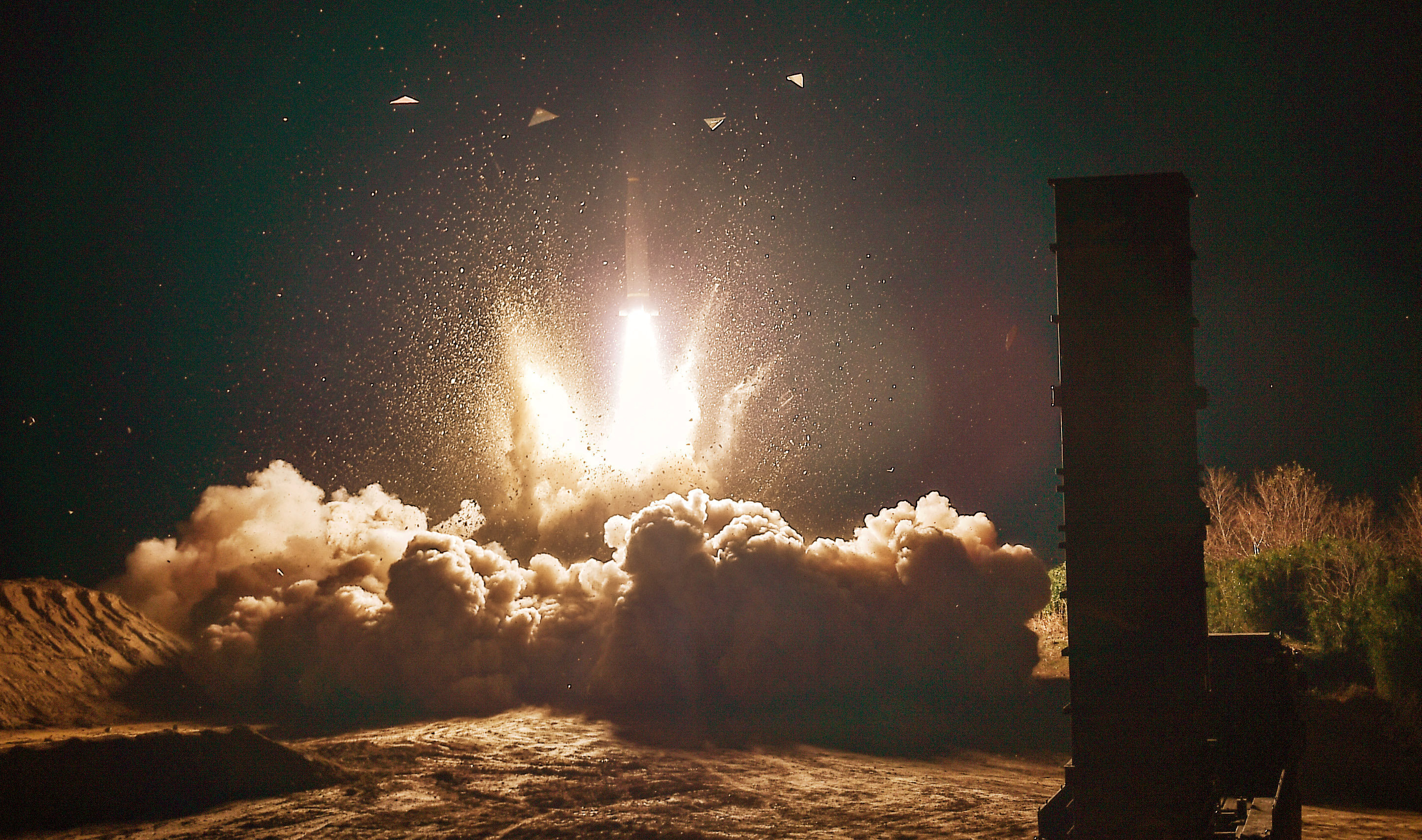 South Korea's Hyunmoo II missile is fired during an exercise at an undefined location in the east coast of South Korea, November 29, 2017