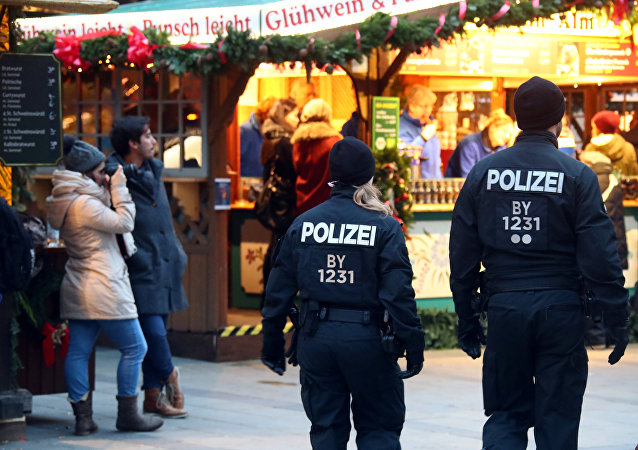 Police patrol at the Christmas market in Munich, Germany, November 28, 2017