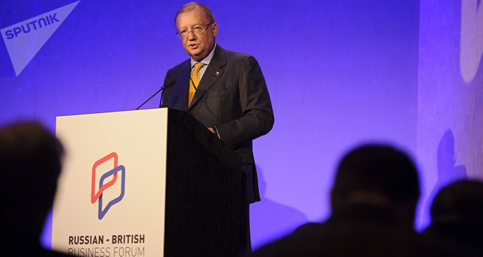 Russia's ambassador to the UK Alexander Yakovenko at the Russian-British Business Forum in London