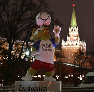 Art objects installed on Manezhnaya Square in Moscow ahead of the 2018 FIFA World Cup Russia Final Draw