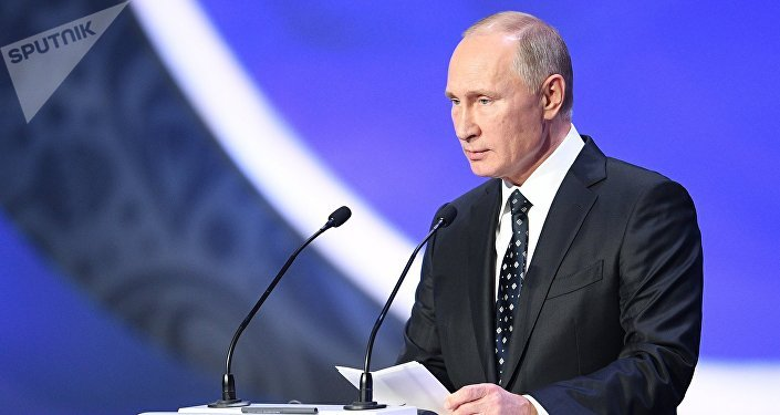 Russian President Vladimir Putin during 2018 FIFA World Cup Final Draw at the State Kremlin Palace