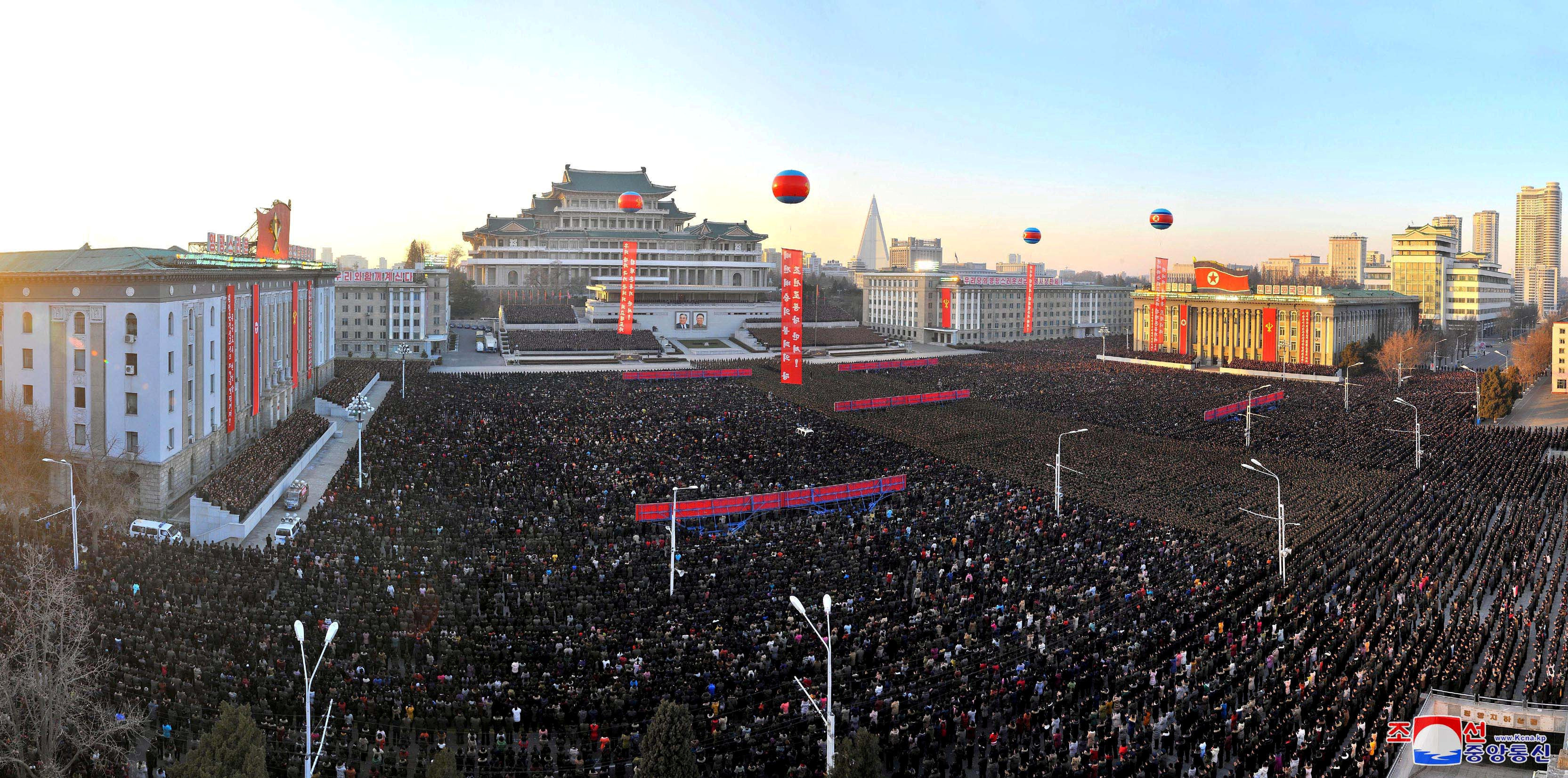 A view of celebrations at Kim Il-sung Square on December 1, in this photo released by North Korea's Korean Central News Agency (KCNA) in Pyongyang December 2, 2017
