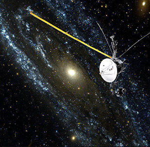 an artist rendition of NASA's Voyager 1 spacecraft as it speeds beyond the boundary of the Solar System and enters interstellar space