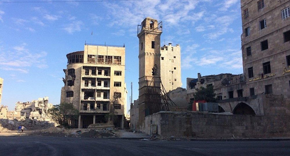 Destroyed buildings in Aleppo
