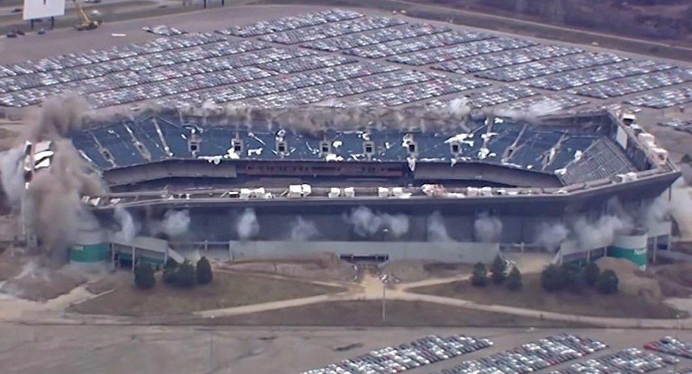 The Pontiac Silverdome Stadium in Detroit