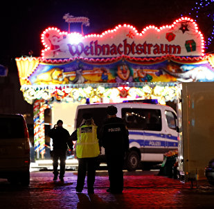 Police have evacuated a Christmas market and the surrounding area in the German city of Potsdam, near Berlin, Germany, December 1, 2017, to investigate a suspicious object