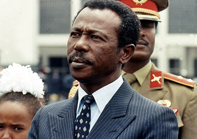 Former Ethiopian president Mengistu Haile Marian, is seen in Ethiopia, in this Aug. 9, 1990 file photo