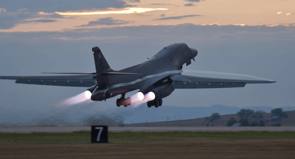 This July 24, 2012 photo provided by the U.S. Air Force shows a B-1 bomber rumbling down the flightline at Ellsworth Air Force Base, S.D., as part of a training mission