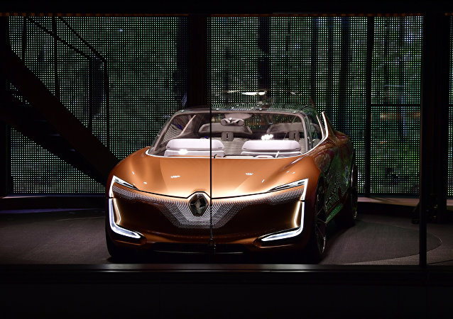 Renault prototype Symbioz is presented during its world premiere during a show on stage at the Renault stand at the Frankfurt Motor Show IAA in Frankfurt am Main, western Germany