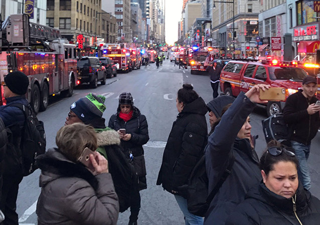 Police and fire crews block off the streets near the New York Port Authority in New York City, U.S. December 11, 2017 after reports of an explosion