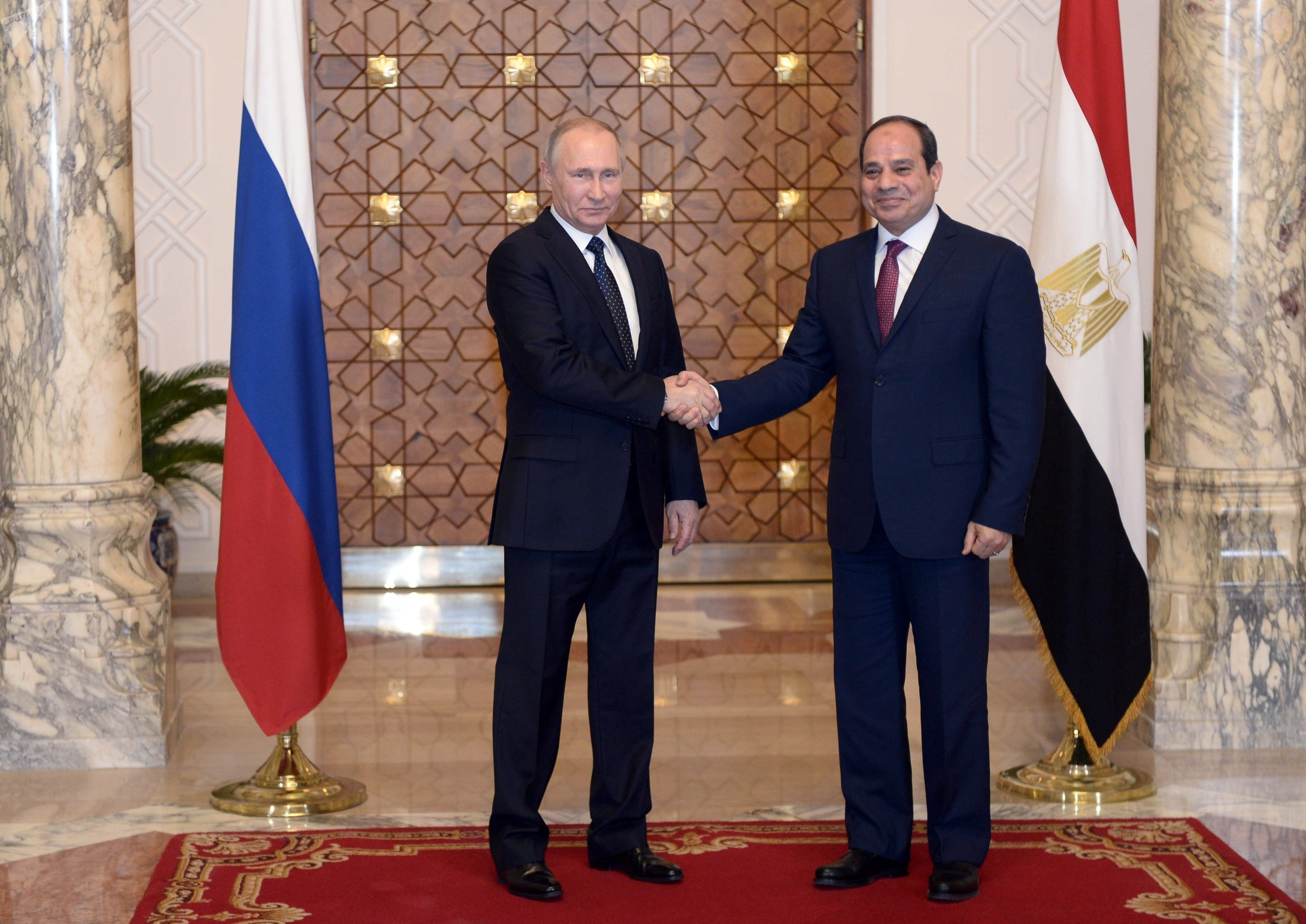 President of the Arab Republic of Egypt Abdel Fattah el-Sisi (right) and President of the Russian Federation Vladimir Putin at the meeting in Cairo