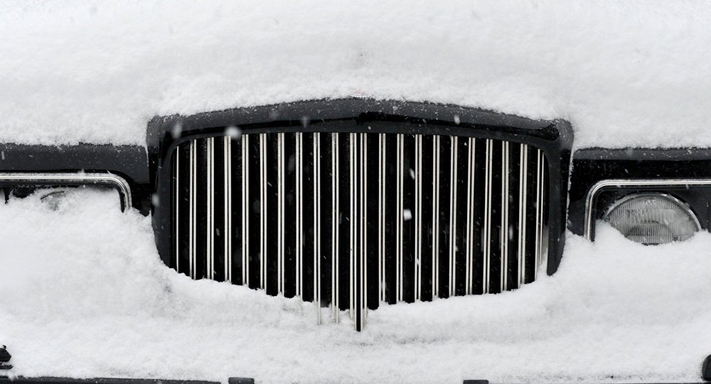 The front grill of a Bentley parked in the lot of a luxury vintage car dealership in downtown Greenwich, Connecticut March 14, 2017