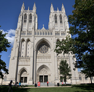 The National Cathedral is seen after green paint was discovered in two chapels inside the Cathedral in Washington on Monday, July 29, 2013.