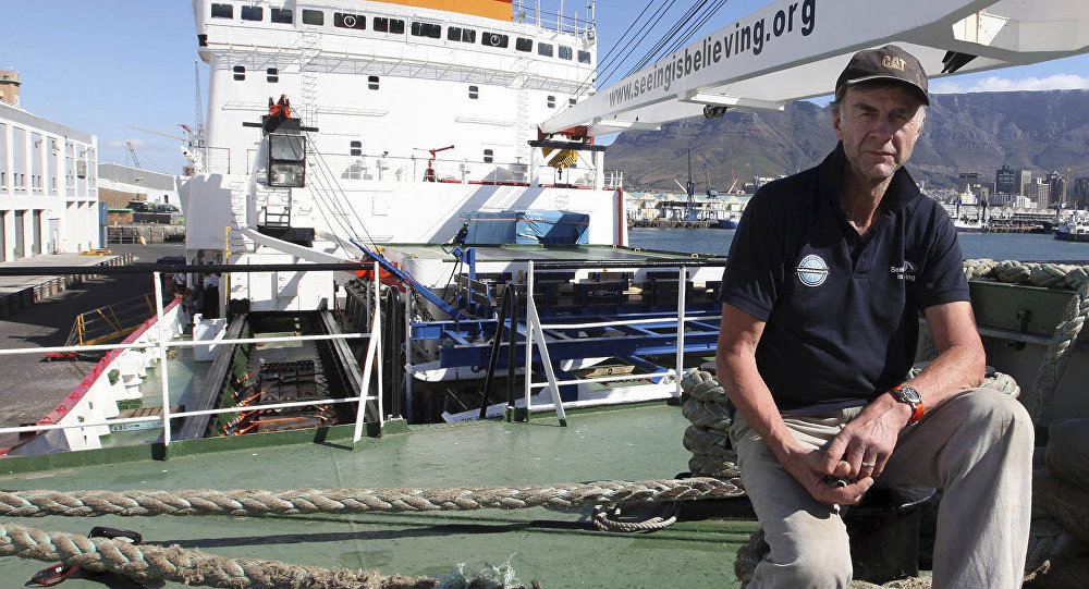 In this photo taken Thursday, Jan. 3, 2013, British explorer Ranulph Fiennes on board the polar vessel S.A. Agulhas in Cape Town, South Africa