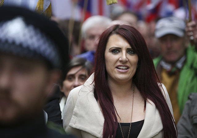 Jayda Fransen, acting leader of the far-right organisation Britain First marches in central London