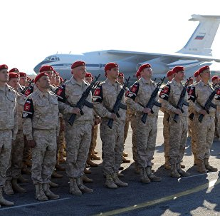 Russian army servicemen at the Khmeimim Air Base in Syria