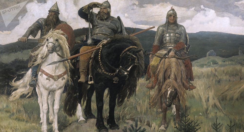 Victor Vasnetsov's Three Bogatyrs. 1898. Oil on canvas. State Tretyakov Gallery, Moscow. (File)