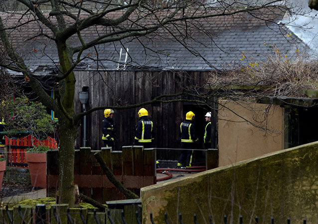 Firefighters stand near a building at London Zoo following a fire which broke out at a shop and cafe at the attraction, in central London, Britain December 23, 2017