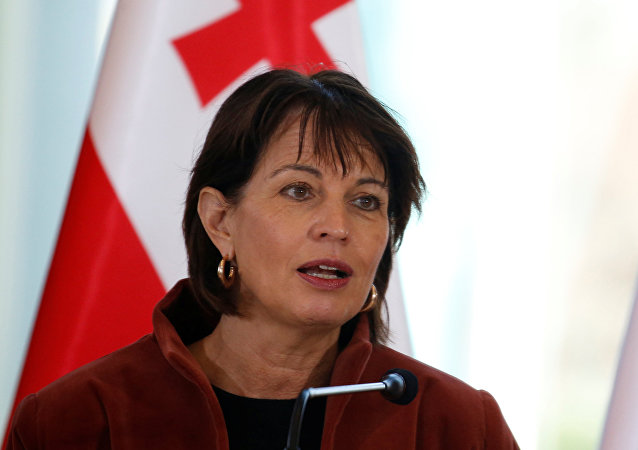 Switzerland's President Doris Leuthard speaks during a news conference in Tbilisi, Georgia, December 4, 2017