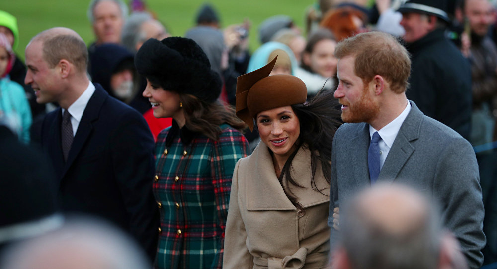 Britain's Prince William, Catherine, Duchess of Cambridge, Prince Harry and Meghan Markle arrive at St Mary Magdalene's church for the Royal Family's Christmas Day service on the Sandringham estate in eastern England, Britain, December 25, 2017