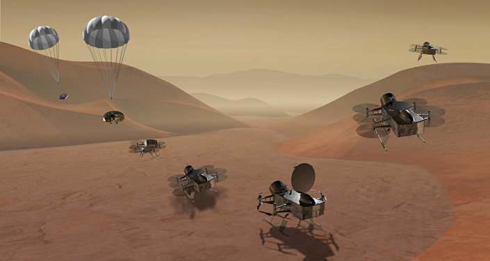Dragonfly is a dual-quadcopter lander that would take advantage of the environment on Titan to fly to multiple locations, some hundreds of miles apart, to sample materials and determine surface composition to investigate Titan's organic chemistry and habitability, monitor atmospheric and surface conditions, image landforms to investigate geological processes, and perform seismic studies