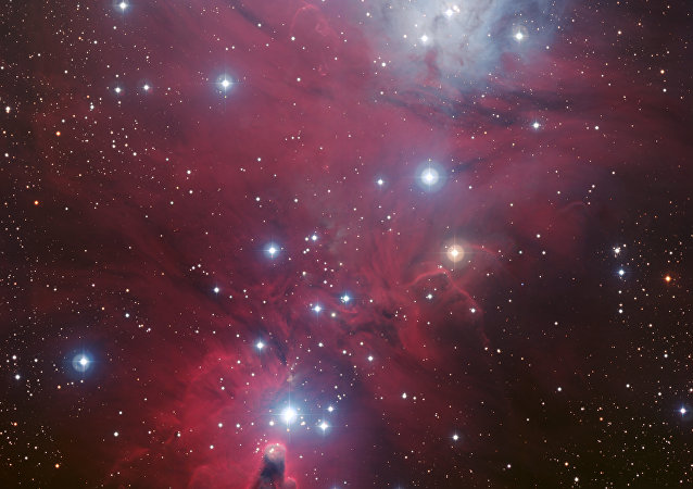 NGC 2264, featuring the inverted Christmas Tree cluster above the cone. The Snowflake nebula in the center shows up better on an infrared version of the image.