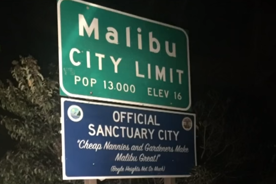 Sanctuary City sign pops up in Malibu