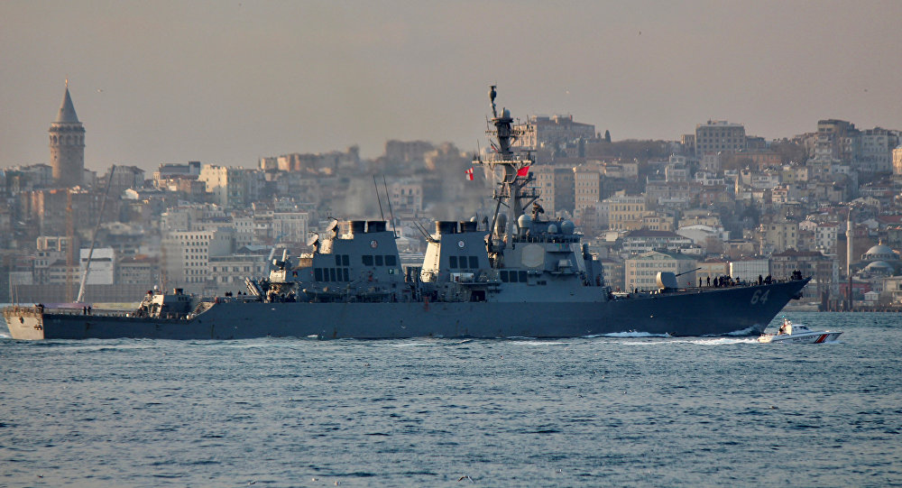 The U.S. Navy destroyer USS Carney sets sail in the Bosphorus, on its way to the Black Sea, in Istanbul, Turkey, January 5, 2018