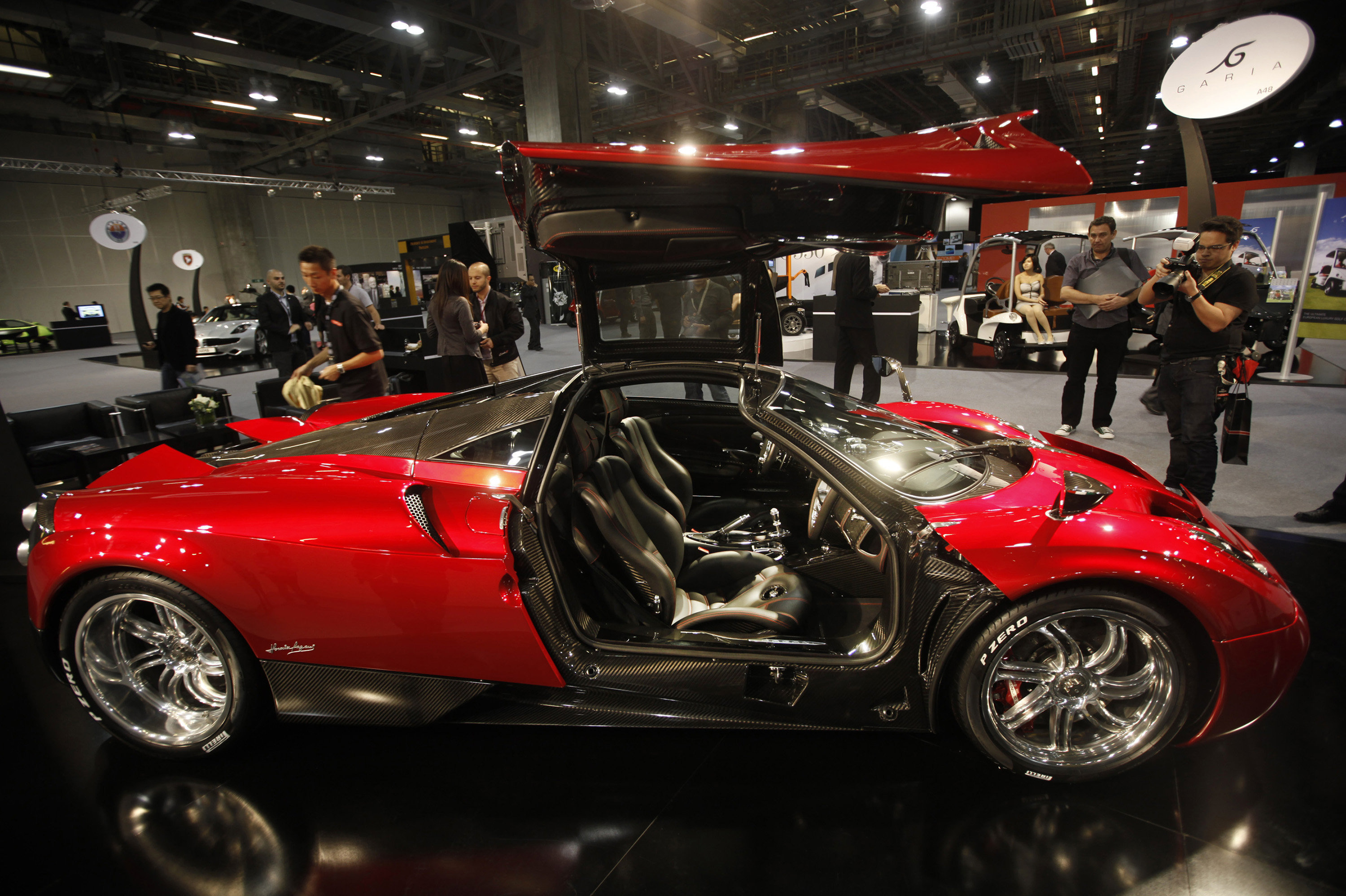 In this photo taken on Thursday, Nov. 24, 2011, a Pagani Huayra is displayed during a supercar show in Macau