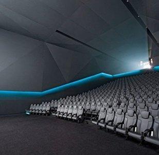 Interior Dolby Laboratories, Inc. screening theatre in San Francisco, California