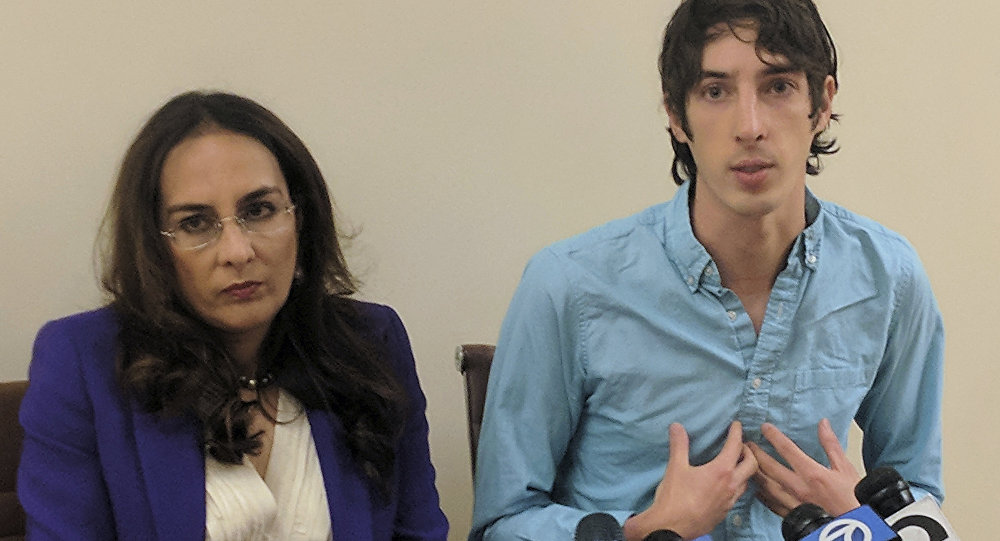James Damore, right, a former Google engineer fired in 2017 after writing a memo about the biological differences between men and women, speaks at a news conference while his attorney, Harmeet Dhillon, listens, Monday, Jan. 8, 2018, in San Francisco