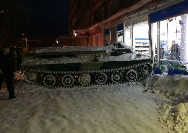 Stolen armored vehicle in Apatity, Russia