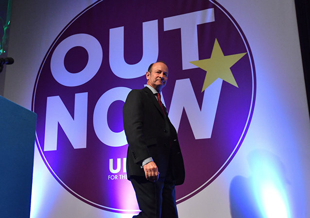 Newly elected leader of the UK Independence Party, Henry Bolton greets delegates on the first day of the UK Independence Party (UKIP) National Conference in Torquay, south-west England. (File)