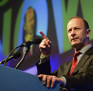 Henry Bolton, who has been elected as the new party leader of Britain's UK Independence Party speaks during the UKIP National Conference in Torquay England
